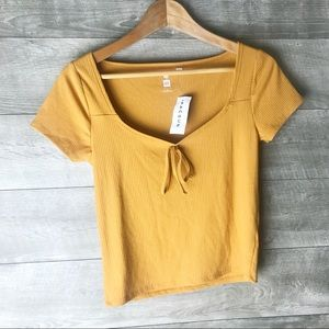 Pacsun short sleeve tie front yellow t-shirt